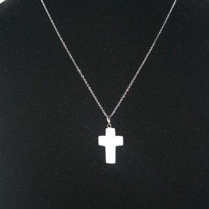 White Aventurine Cross necklace 18 in chain NWOT